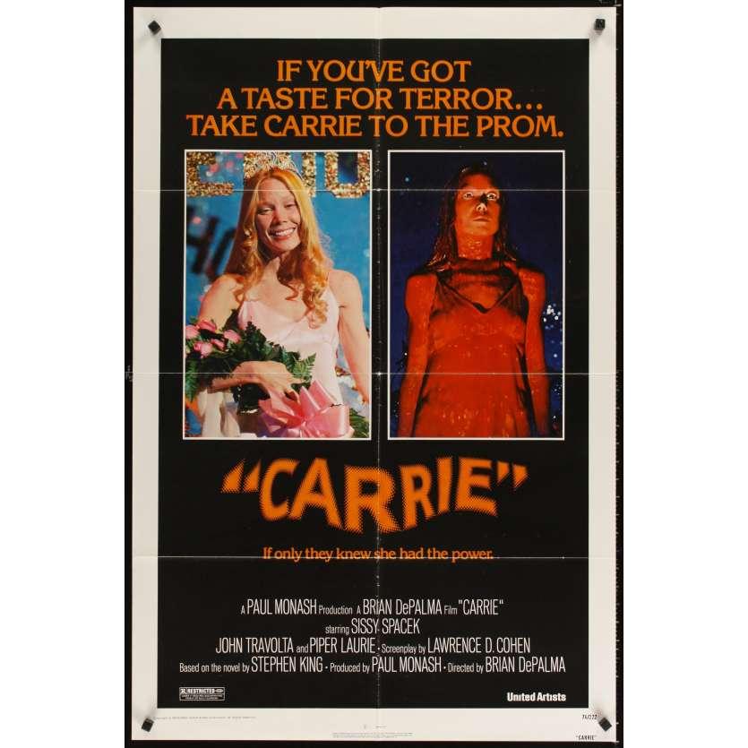 CARRIE Affiche Originale US '76 Brian de Palma Stephen King Movie Poster