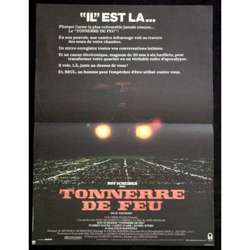 TONNERRE DE FEU Affiche 40x60 '83 Badham, Roy Sheider Blue Thunder Movie Poster
