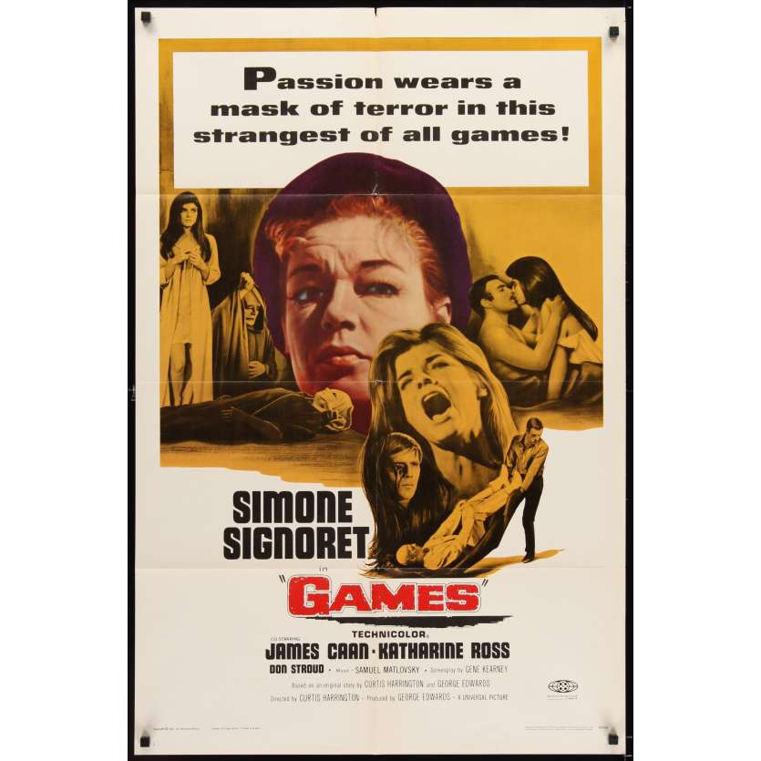 GAMES 1sh '67 Simone Signoret, Katharine Ross, passion wears a mask of terror
