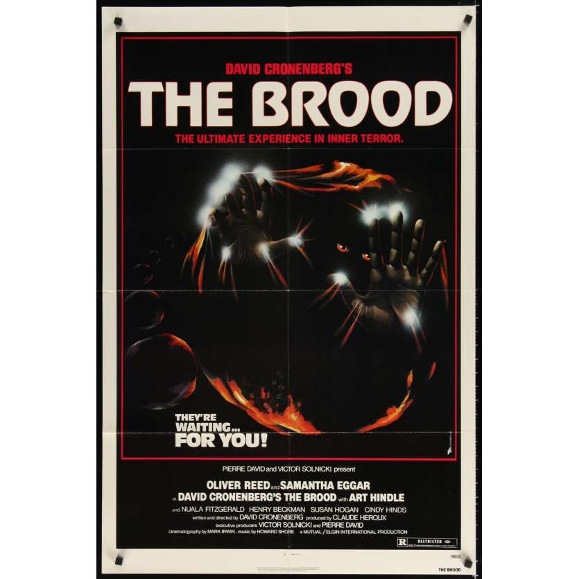 BROOD 1sh '79 David Cronenberg, Oliver Reed, Samantha Eggar, art of monster in embryo!