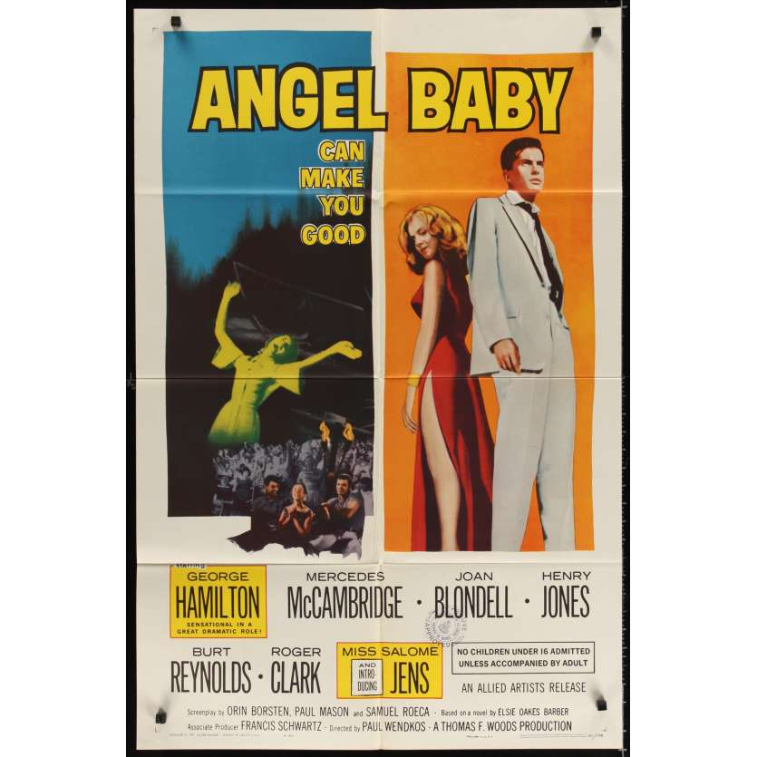 ANGEL BABY Movie Poster '61 George Hamilton