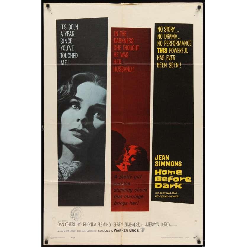 RETOUR AVANT LA NUIT Affiche Originale US '58 Jean Simmons Movie poster