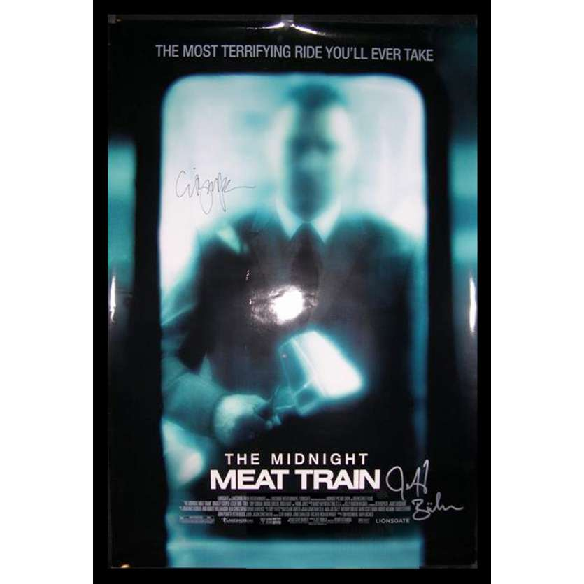 MIDNIGHT MEAT TRAIN Movie Poster SIGNED by Clive Barker US '08 Bradley Cooper, Brooke Shiel