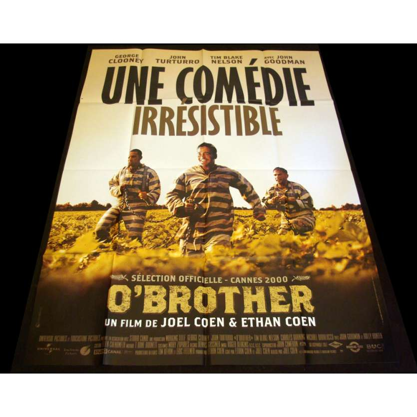 O' BROTHER Affiche 120x160 FR '00 Coen bros, George Clooney Movie Poster
