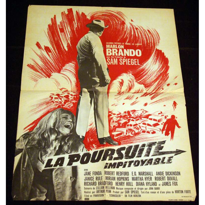 POURSUITE IMPITOYABLE Affiche 60x80 FR '66 Marlon Brando, Robert Redford, Movie Poster
