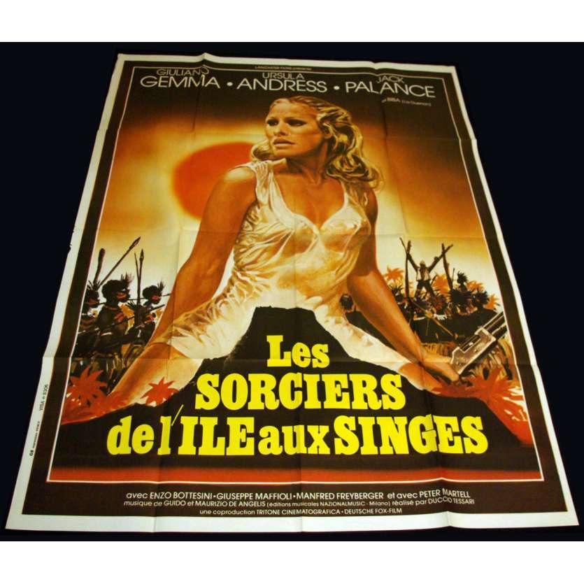 SORCIERS DE L'ILE AUX SINGES Affiche 120x160 FR '76 Ursula Andress, Jack Plance Movie Poster