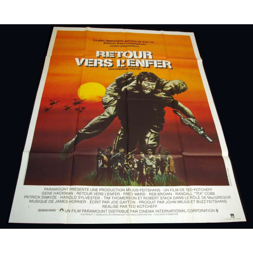 UNCOMMON VALOR French Movie Poster 47x63 '83 Ted Kotcheff, Gene Hackman