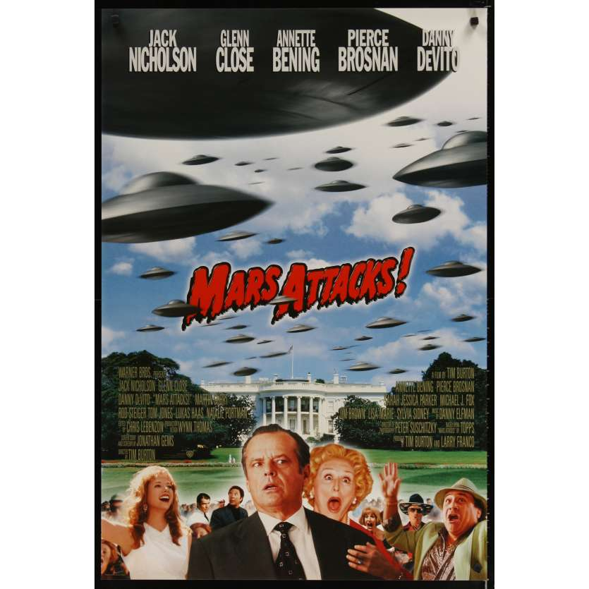 MARS ATTACKS! advance 1sh '96 directed by Tim Burton, Jack Nicholson, Glenn Close, Brosnan!