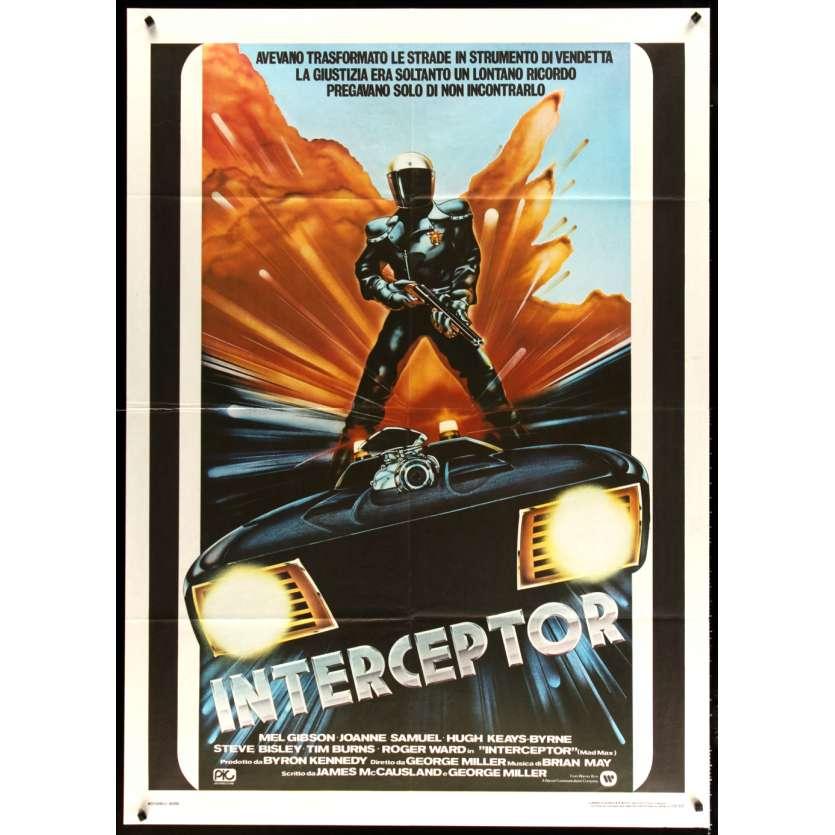 MAD MAX Italian Movie Poster '80 cool art of Mel Gibson, George Miller sci-fi classic, Interceptor!