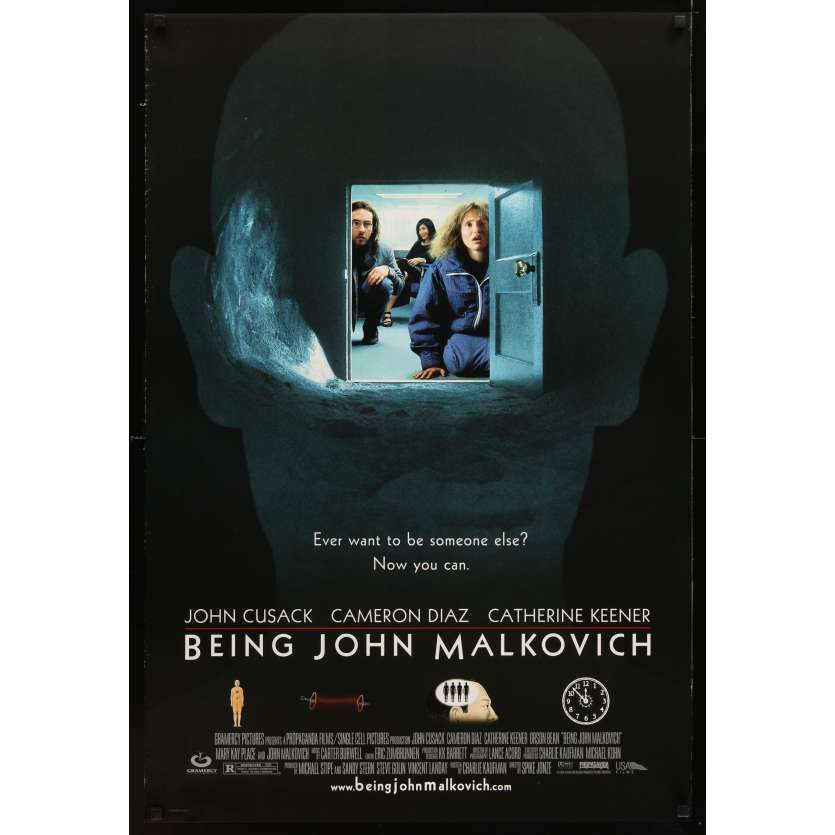 DANS LA PEAU DE JOHN MALKOVICH Affiche du film US '99 Spike Jonze directed, Cusack, Cameron Diaz, Catherine Keener!