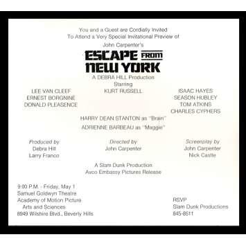 NEW-YORK 1997 Invitation Premiere du film '81 John Carpenter, Kurt Russel