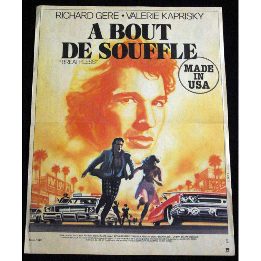 BREATHLESS French Movie Poster 15x21 '83 Richard Gere