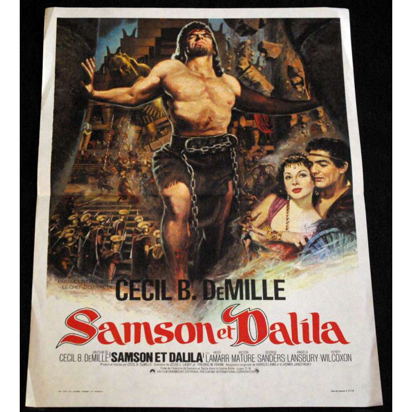 SANSOM AND DELILAH French Movie Poster 15x21- R-1980 - Cecil B. de Mille, Victore Mature