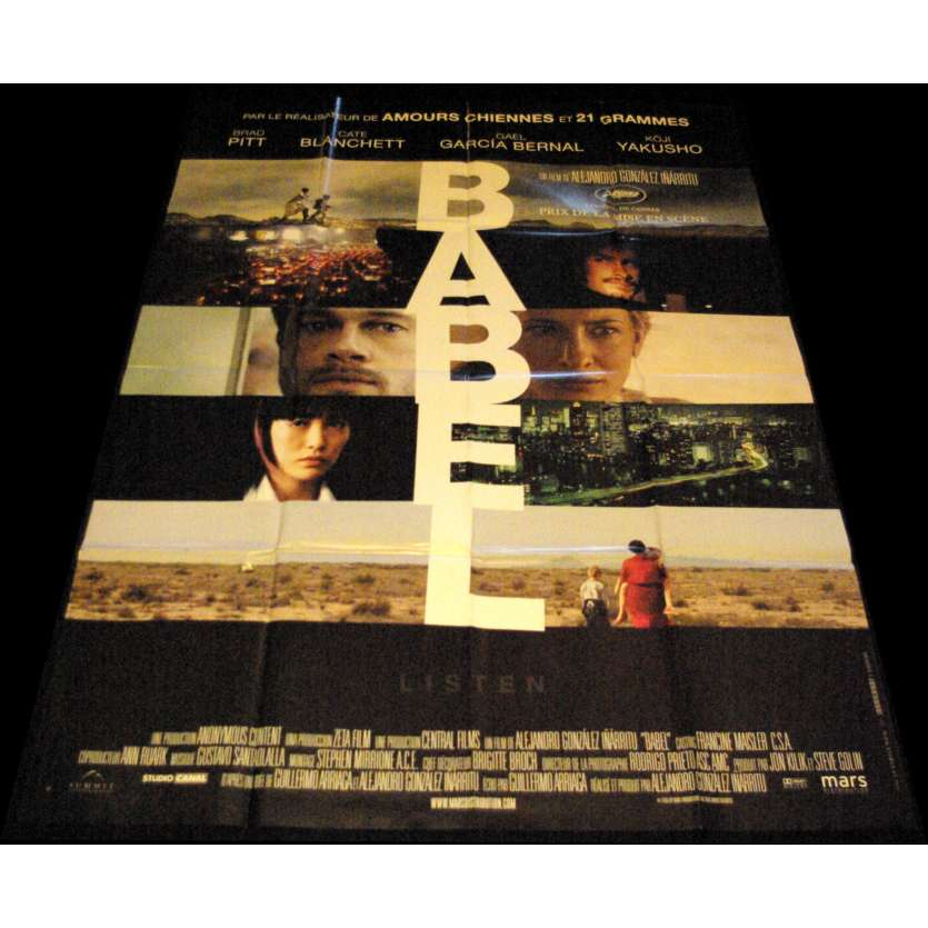 BABEL French Movie Poster 47x63- 2006 - Alejandro Gonzalez Inarritu, Brad Pitt