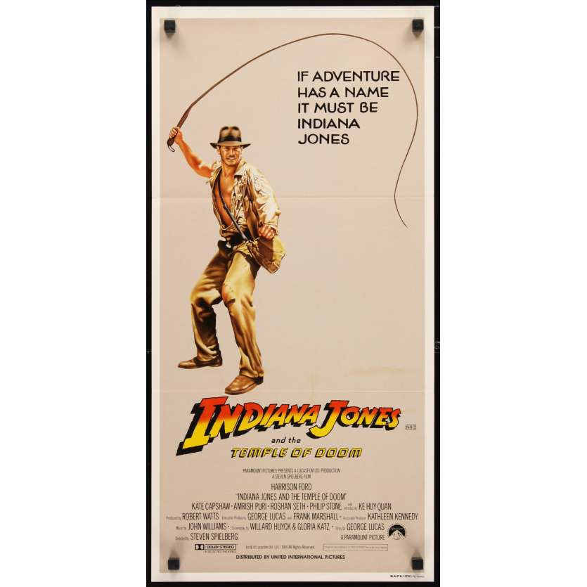 INDIANA JONES ET LE TEMPLE MAUDIT Affiche 2 34x69 - 1984 - Harrison Ford, Steven Spielberg