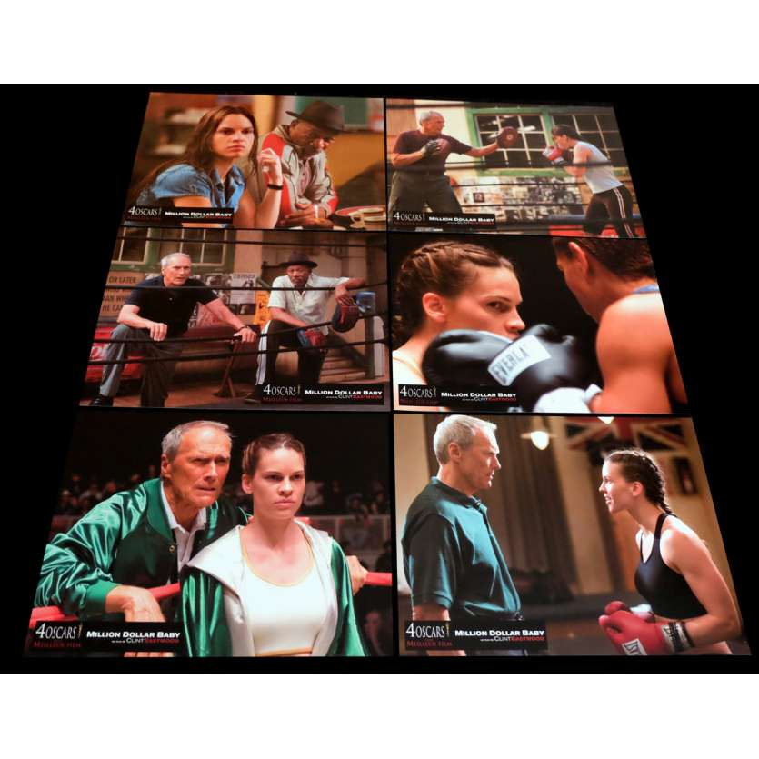 MILLION DOLLARS BABY French Lobby Cards 9x12- 2004 - Clint Eastwood, Hilary Swank