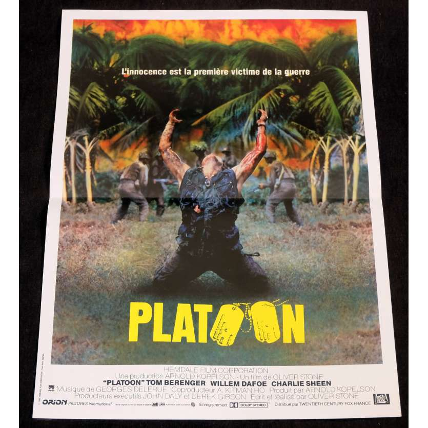 PLATOON French Movie Poster 15x21 - 1986 - Oliver Stone, Willem Dafoe