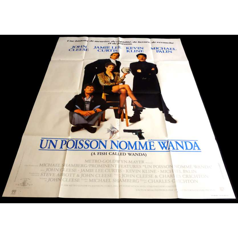 UN POISSON NOMME WANDA Affiche de film 120x160 - 1988 - John Cleese, Charles Crichton