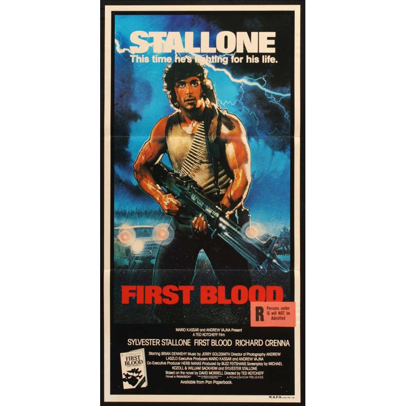 FIRST BLOOD Australian Movie Poster 13x28 - 1982 - Ted Kotcheff, Sylvester Stallone