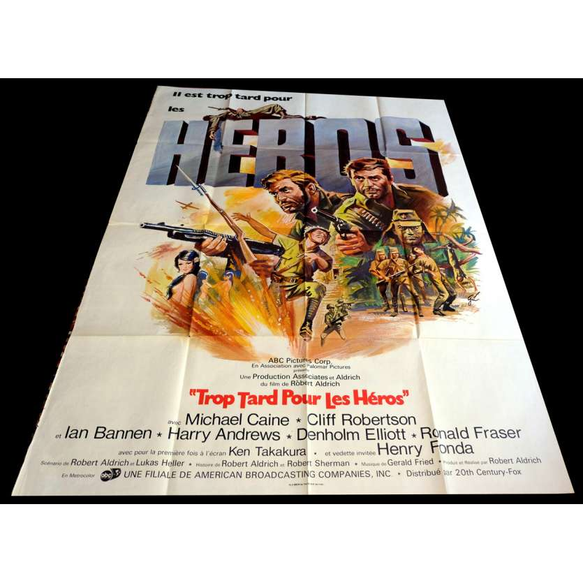 TOO LATE FOR THE HEROES French Movie Poster 47x63 - 1970 - Robert Aldrich, Michael Caine