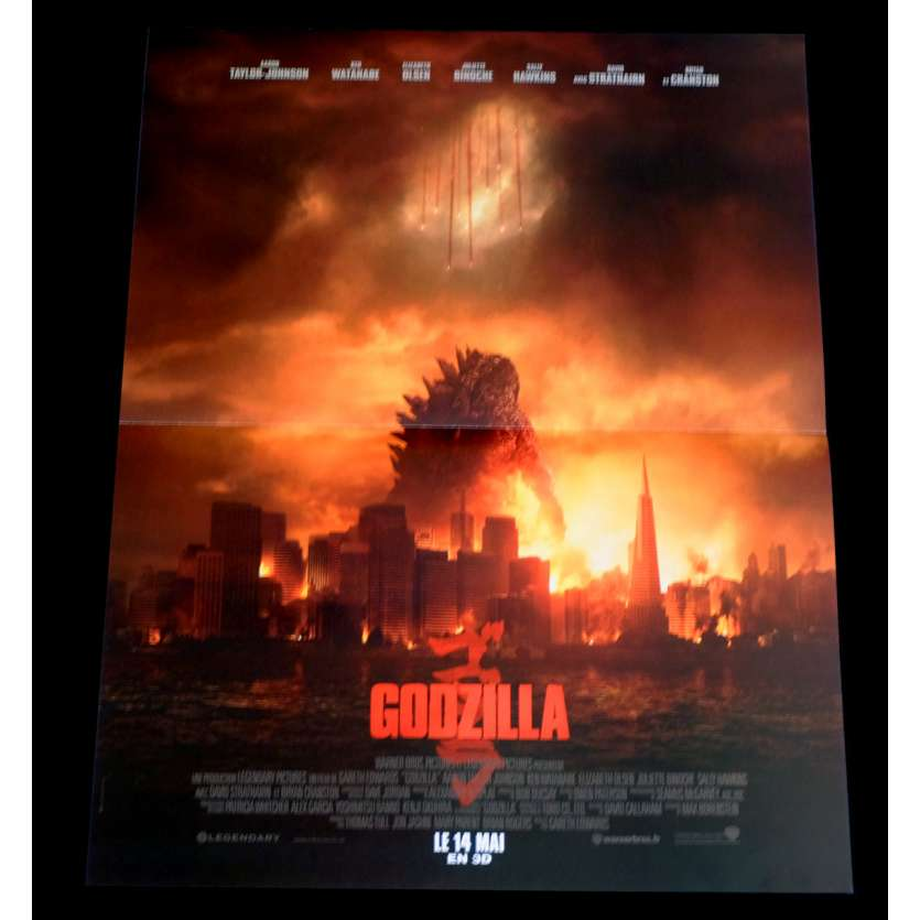 GODZILLA French Movie Poster 15x21 - 2014 - Gareth Edwards, Bryan Cranston