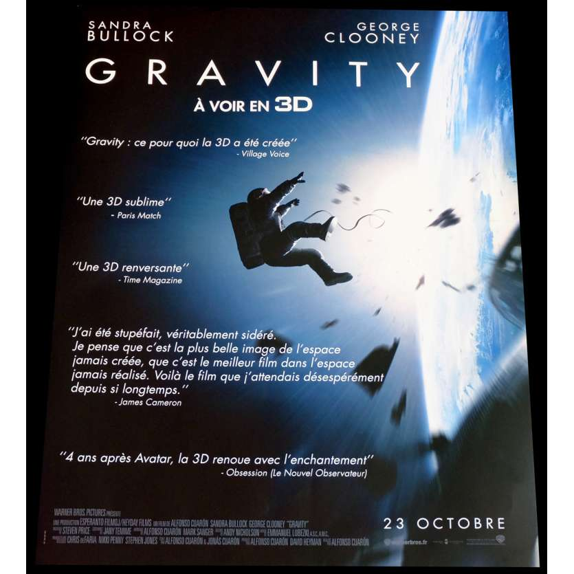 GRAVITY Reviews French Movie Poster 2 15x21 - 2013 - Alfonso Cuaron, Sandra Bullock