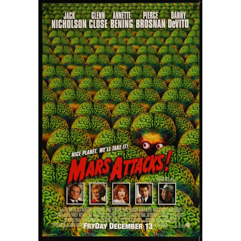 MARS ATTACKS US Movie Poster 29x41 - 2002 - Tim Burton, Jack Nicholson