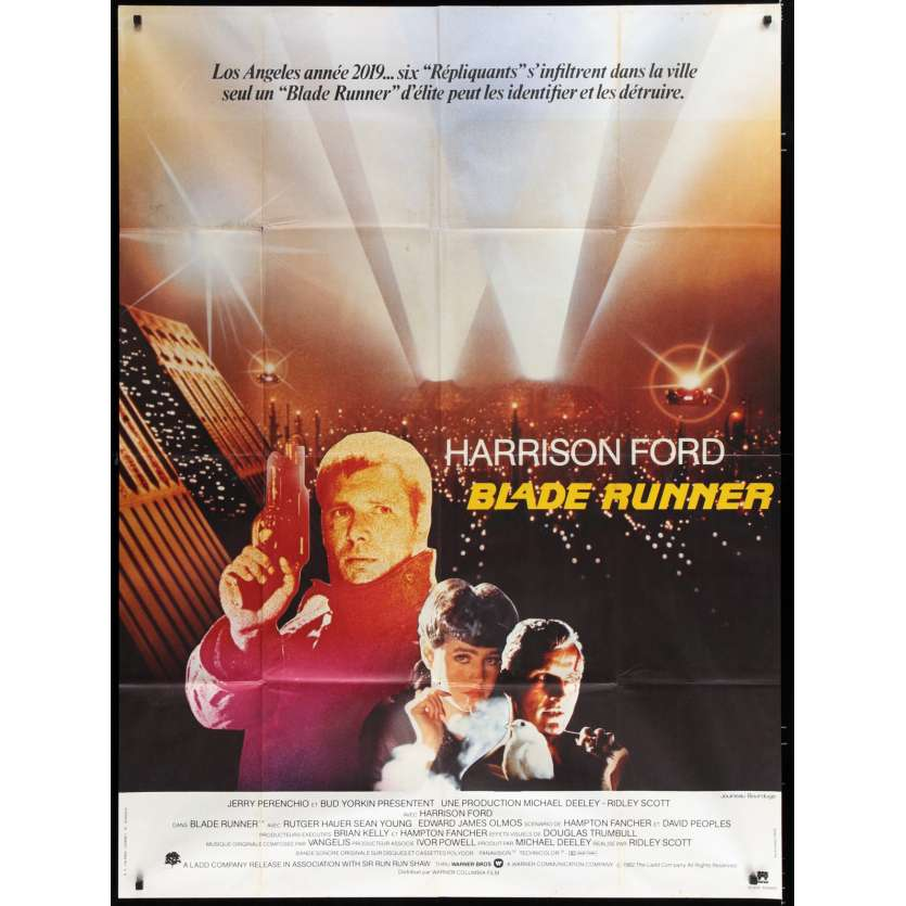 BLADE RUNNER French Movie Poster 47x63 - 1982 - Ridley Scott, Harrison Ford