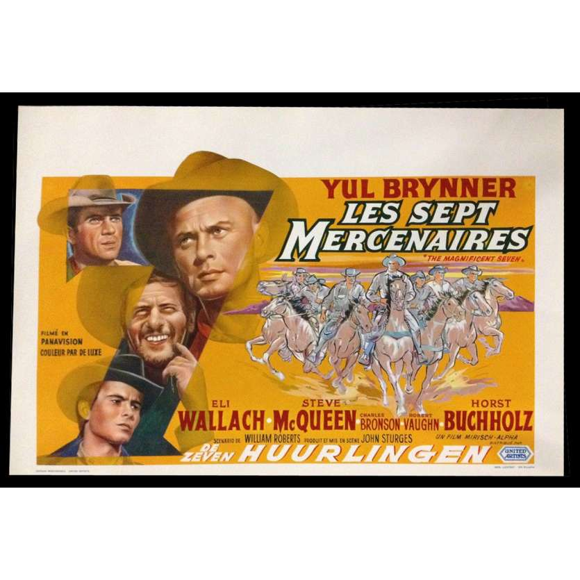 MAGNIFICENT SEVEN Belgian Movie Poster 14x22 - 1960 - John Sturges, Yul Brynner