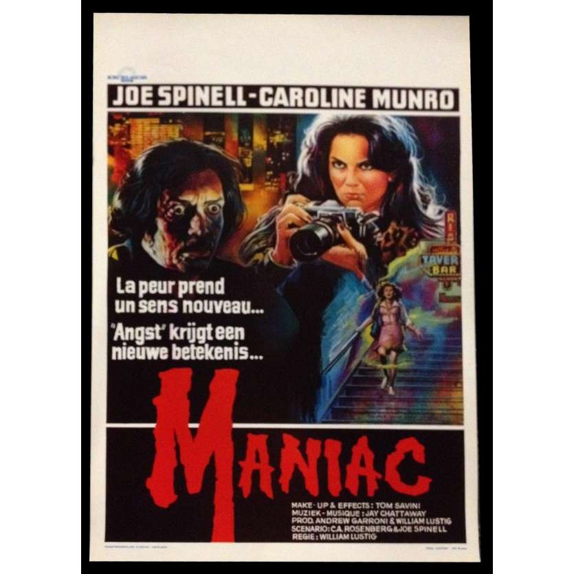 MANIAC Belgian Movie Poster 14x22 - 1980 - William Lustig, Joe Spinell