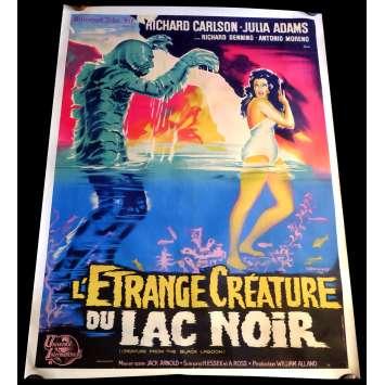 L'ETRANGE CREATURE DU LAC NOIR Affiche entoilée 120x160 - R1962 - Julie Addams, Jack Arnold