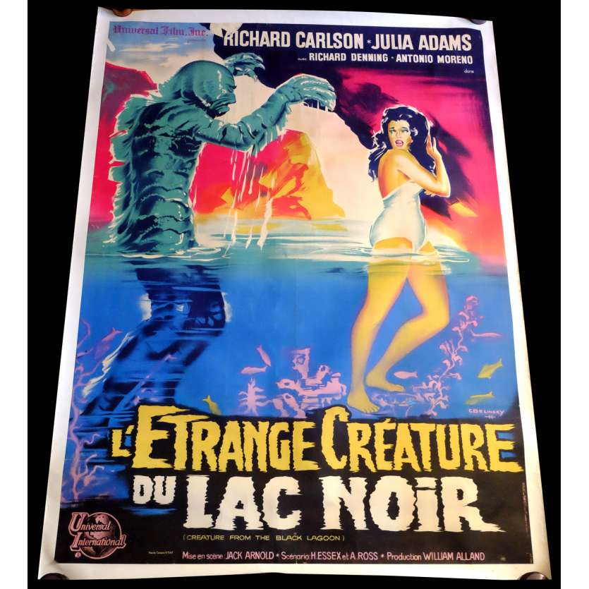 CREATURE FROM THE BLACK LAGOON French Linen Movie Poster 47x63 - 1954 - Jack Arnold, Julie Addams