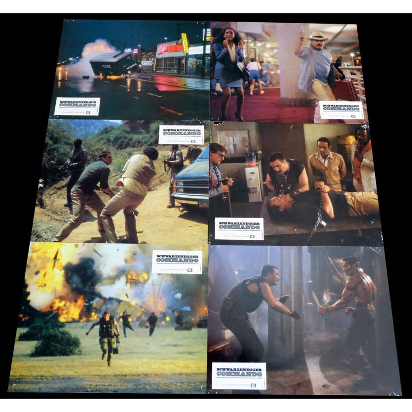 COMMANDO French Lobby Cards x6 9x12 - 1985 - Mark Lester, Arnold Schwarzenegger
