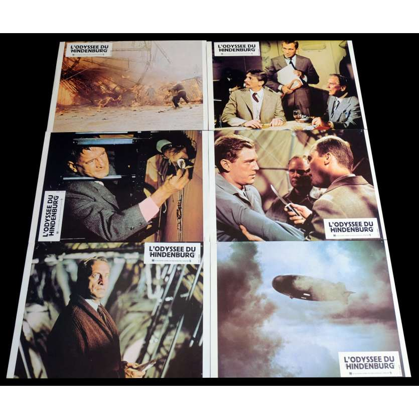 THE HINDENBURG French Lobby Cards x6 9x12 - 1975 - Robert Wise, George C. Scott