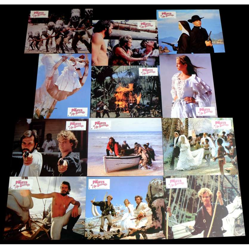 NATE AND HAYES French Lobby Cards x12 9x12 - 1983 - Ferdinand Fairfax, Tommy Lee Jones