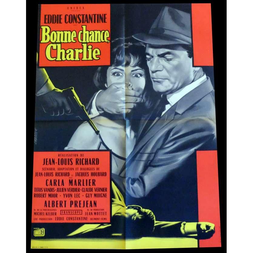 BONNE CHANCE CHARLIE Affiche de film 60x80 - 1962 - Eddie Constantine, Jean-Louis Richard