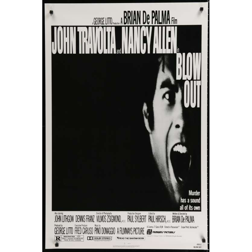 BLOW OUT US Movie Poster 29x41 - 1981 - Brian de Palma, John Travolta