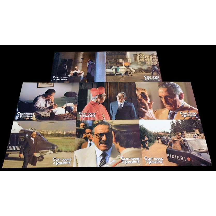 CENTO GIORNI A PALERMO French Lobby cards x8 9x12 - 1984 - Giuseppe Ferrara, Lino Ventura