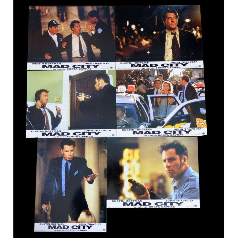 MAD CITY French Lobby cards x6 9x12 - 1997 - Costa Gavras, Dustin Hoffman