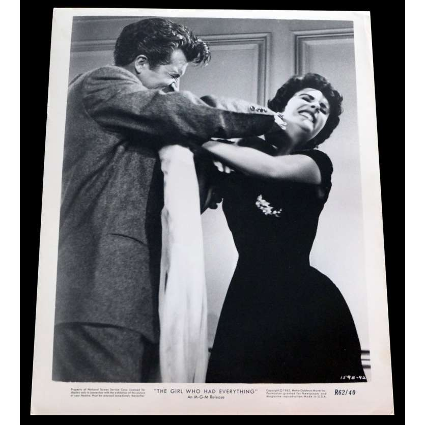 THE GIRL WHO HAD EVERYTHING US Press Still 8x10 - 1953/R1962 - Richard Thorpe, Elizabeth Taylor
