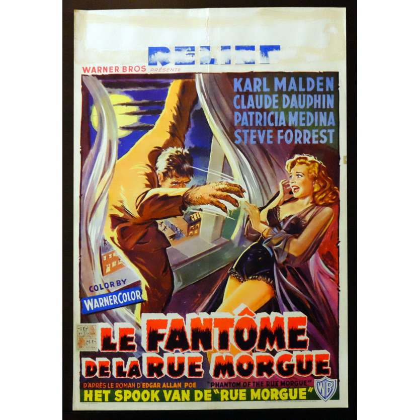 PHANTOM OF THE RUE MORGUE Belgian Movie poster 14x22 - 1954 - Roy Del Ruth, Karl Malden