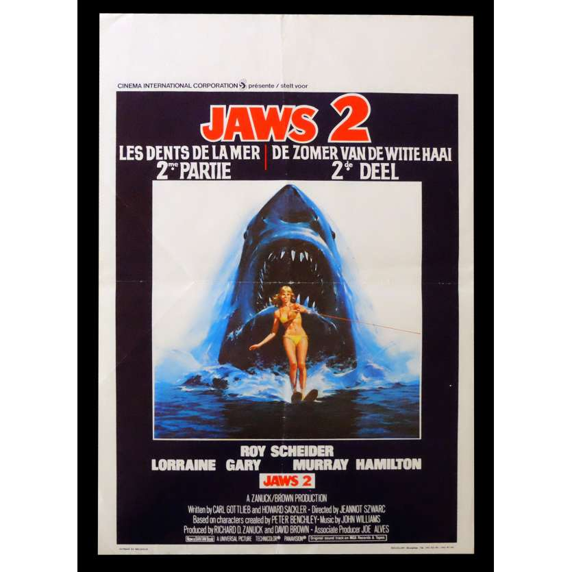 JAWS 2 Belgian Movie poster 14x22 - 1978 - Joe Alves, Roy Scheider