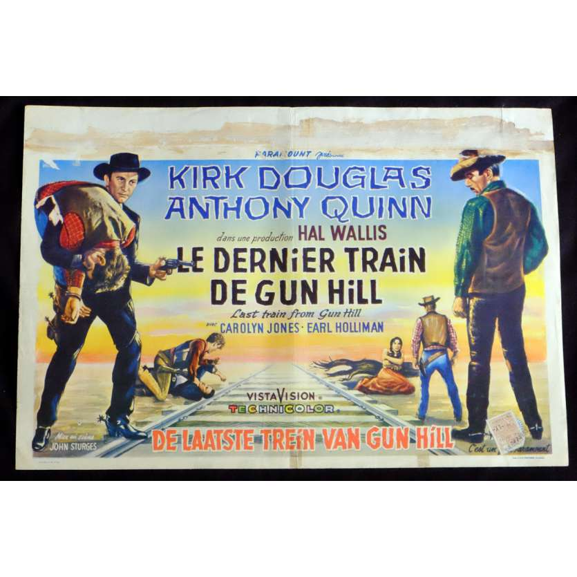 LAST TRAIN FROM GUN HILL Belgian Movie Poster 14x21 - 1959 - John Sturges, Kirk Douglas