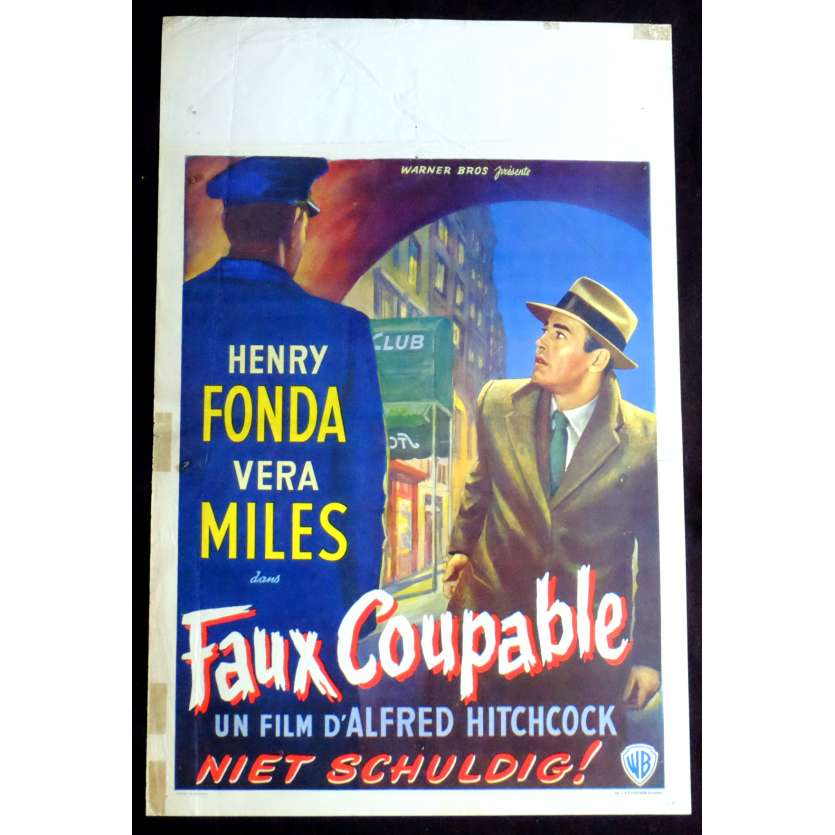 LE FAUX COUPABLE Affiche de film 35X55 - 1956 - Henry Fonda, Alfred Hitchcock