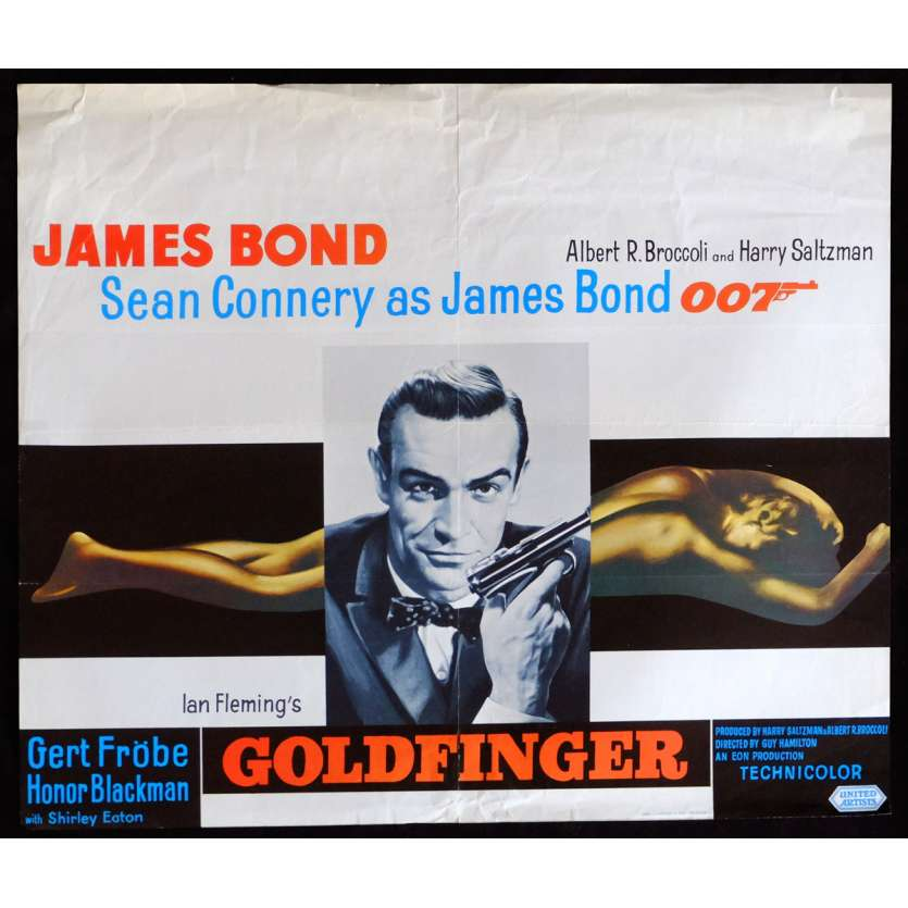 GOLDFINGER Belgian Movie Poster 14x22 - R1970 - Guy Hamliton, Sean Connery