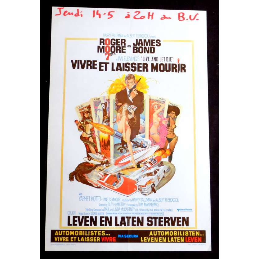 LIVE AND LET DIE Belgian Movie Poster 14x22 - 1973 - Guy Hamliton, Roger Moore