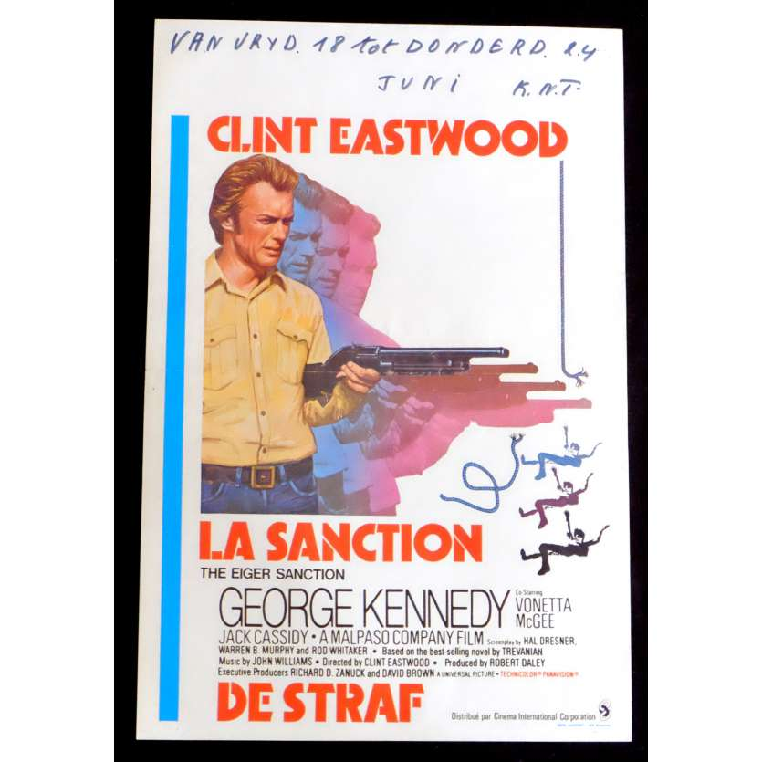 THE EIGER SANCTION Belgian Movie Poster 14x22 - 1975 - Clint Eastwood, George Kennedy