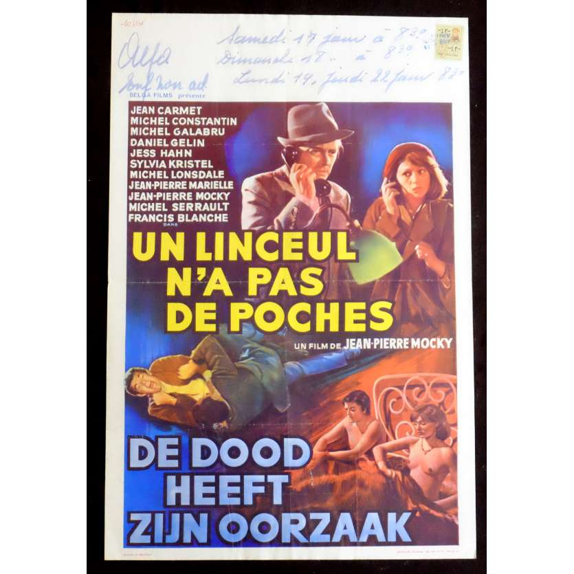 NO POCKETS IN A SHROUD Belgian Movie Poster 14x22 - 1974 - Jean-Pierre Mocky, Jean Carmet