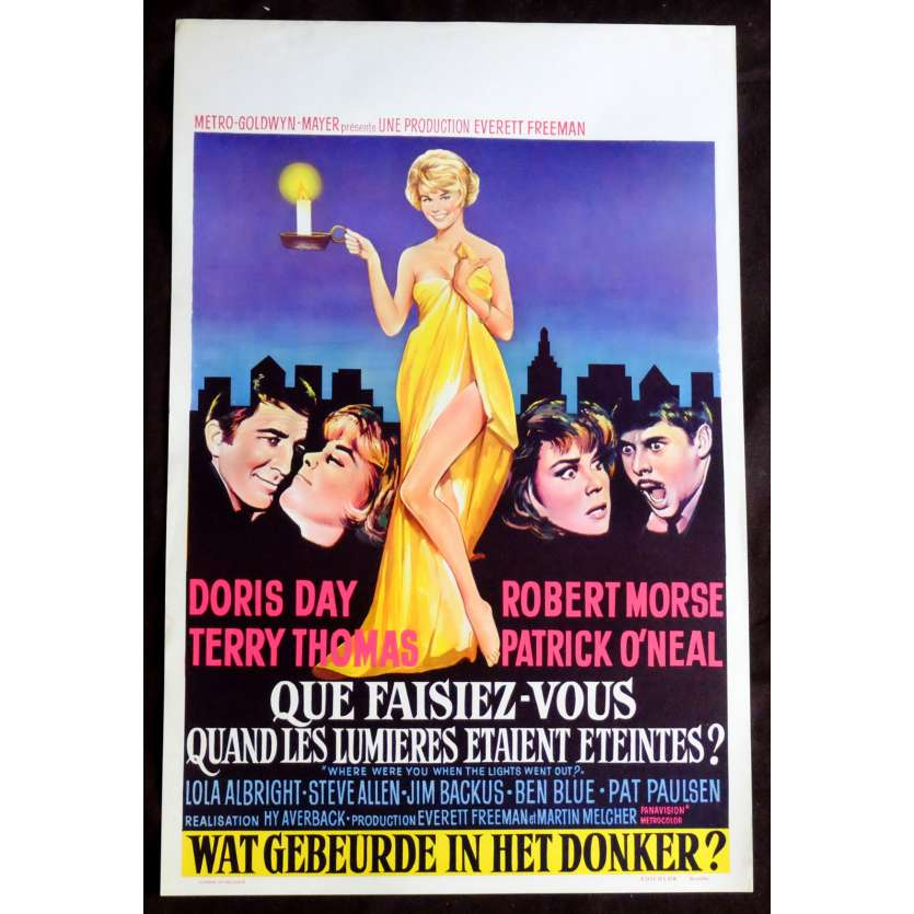 WHERE WERE YOU WHEN THE LIGHTS WENTS OUT Belgian Movie Poster 14x21 - 1968 - Hy Averback, Doris Day