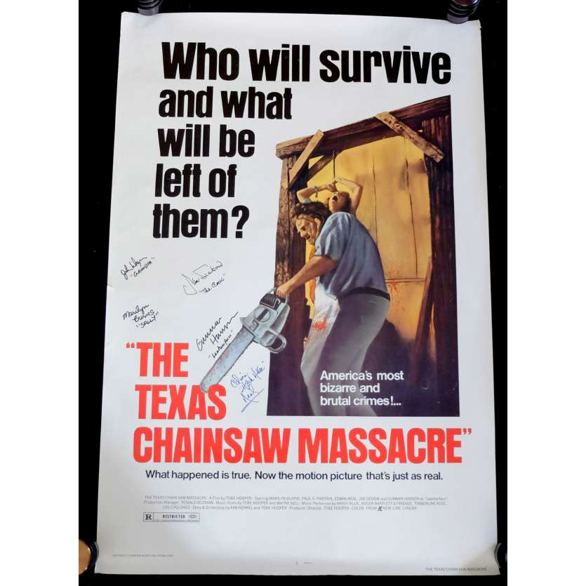 TEXAS CHAINSAW MASSACRE US Signed Movie Poster 29x40 - 1980 - Tobe Hooper, Marilyn Burns